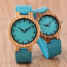 YISUYA Damesmode Blauw Bamboehout Horloge Heren Creatief Quartz Analoog Echt leer Handmade Houten Horloge Xmas Gifts