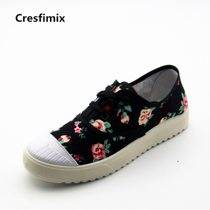 Cresfimix sapatos femininos women cute white floral lace up flat shoes lady casual spring autumn canvas shoes female cool shoes cresfimix women casual breathable soft shoes female cute spring