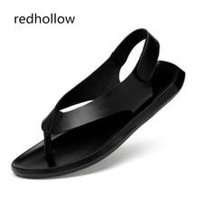 Men Fashion Summer Sandals Men's Cow Leather Beach Sandals Flip Flops Casual Men Rome Sandals Slippers Flat Shoes For Man недорого