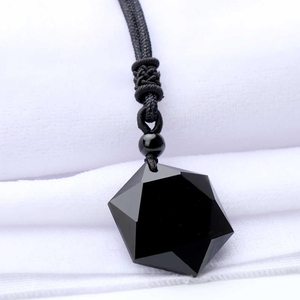Colar preto de pedra de obsidiana, pingente em forma de hexálogo, corrente de ornamentos, colar, joias da moda, acessórios unissex, 1 peça
