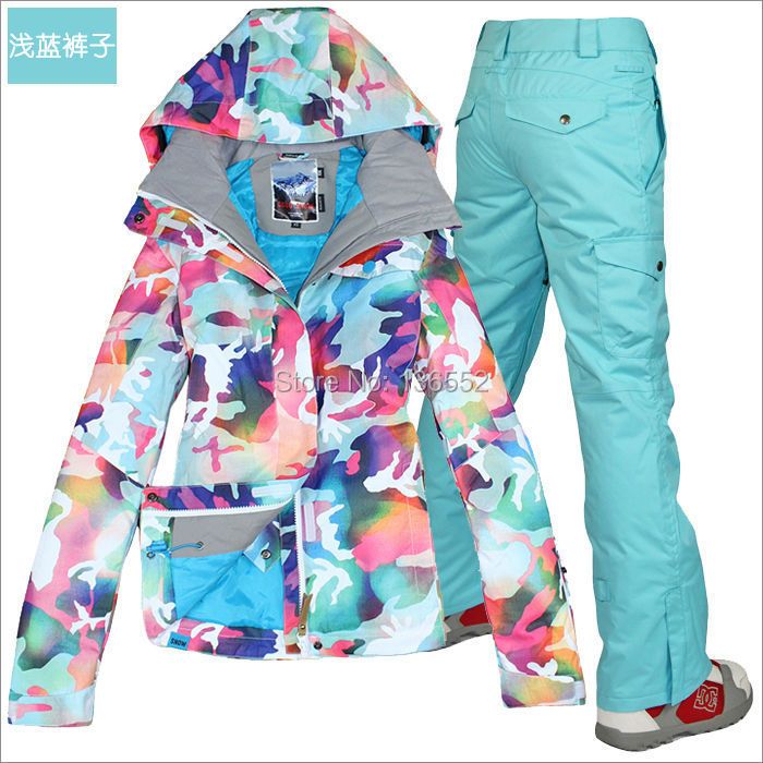 2014 womens ski suit ladies snowboarding suit camouflage ski jacket and blue pants waterproof. Black Bedroom Furniture Sets. Home Design Ideas