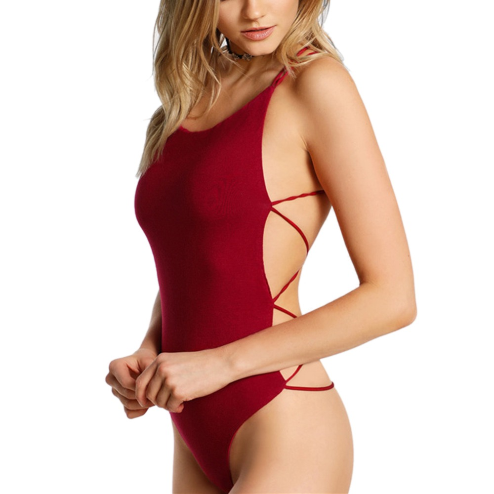 Lace Up Sexy Women Cross Back Erotic Strapless Backless Overalls Hot Female Solid Playsuit Summer Lady Red Fascinating Wholesale