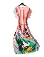 Cute cartoon mickey silkworm silk dress with sleeved bat sleeve silk loose group lace dress