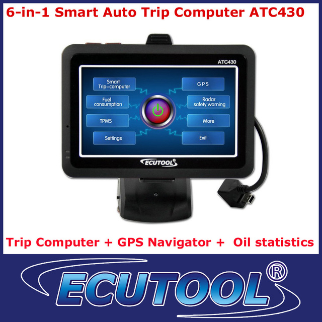 6-In-1 Car Auto Smart Trip Computer ATC430 OBDii OBD 2 with GPS Navigation Oil statistics Clear DTC TPMS Optional free shipping