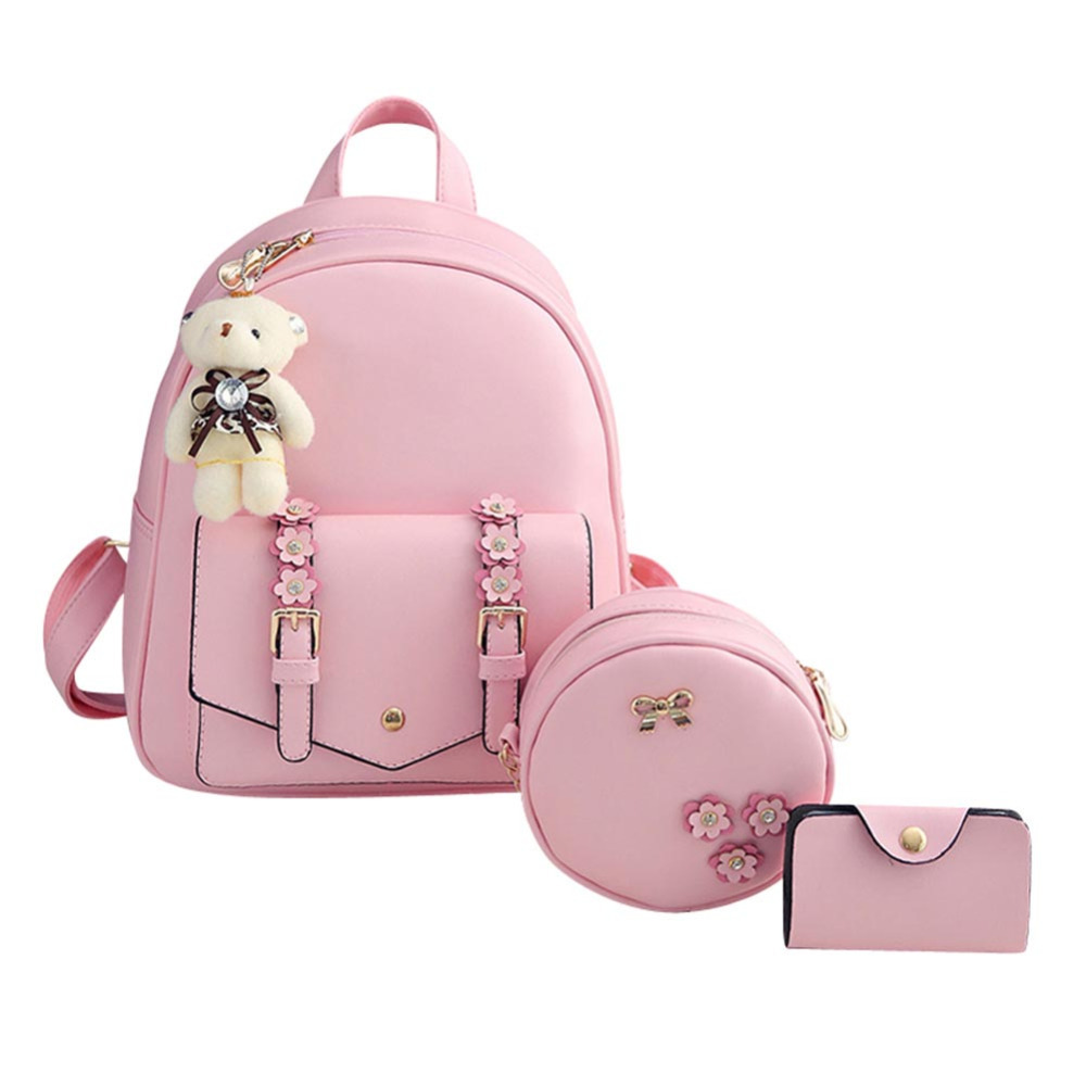 3pcs/set Fashion Autumn Winter Women Backpacks Set Rucksack mochila Backpack For Teenagers Girls School bags Backpack with Purse