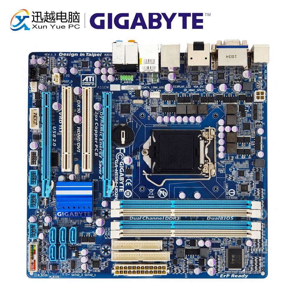 Gigabyte ga-h55m-ud2h рабочего Материнская плата H55M-UD2H H55 разъем LGA 1156 SATA2 DDR3 16 г VGA DVI HDMI DP Micro-ATX