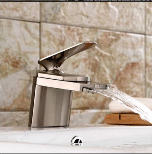 New Arrivals bathroom faucet high quality waterfall faucet total brass nickel bathroom sink waterfall faucet basin faucet modern brass bathroom sink waterfall faucet