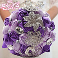 2017 Beading Crystal Bridal Bridesmaid Flower wedding bouquet artificial flower rose bouquet Crystal bridal bouquets