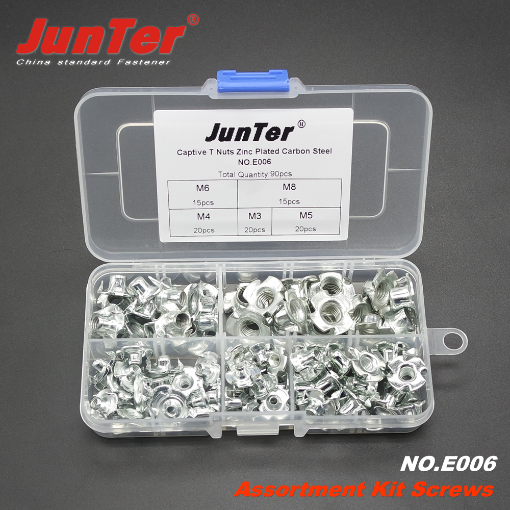 90pcs M3 M4 M5 M6 M8 Captive T Nuts Pronged Tee Nuts Blind Nuts Zinc Plated Carbon Steel Metric Assortment Kit NO.E006 цены онлайн