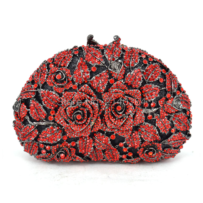 Evening Clutches Women Designer Red Clutch Crystal Clutch Evening Bags and Purses Handbags High Quality Two roses (88303-D) designer crystal day party clutches evening purses high quality new fashion agate luxury handbags women bags smyzh e0055