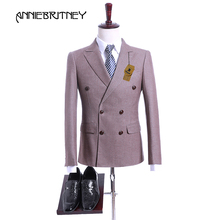 2018 Brown Stripes Suit Men Costume Mariage Homme Slim Fit Tuxedo Groom 2 Piece Double Breasted Suit Blazer Prom Wedding Suits