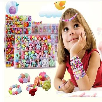 최고의 선물 혼합 된 색상 400 pcs diy 아크릴 비즈 목걸이 & 팔찌에 대 한 액세서리를 설정 소녀 developmental 장난감 키즈 비즈 키트
