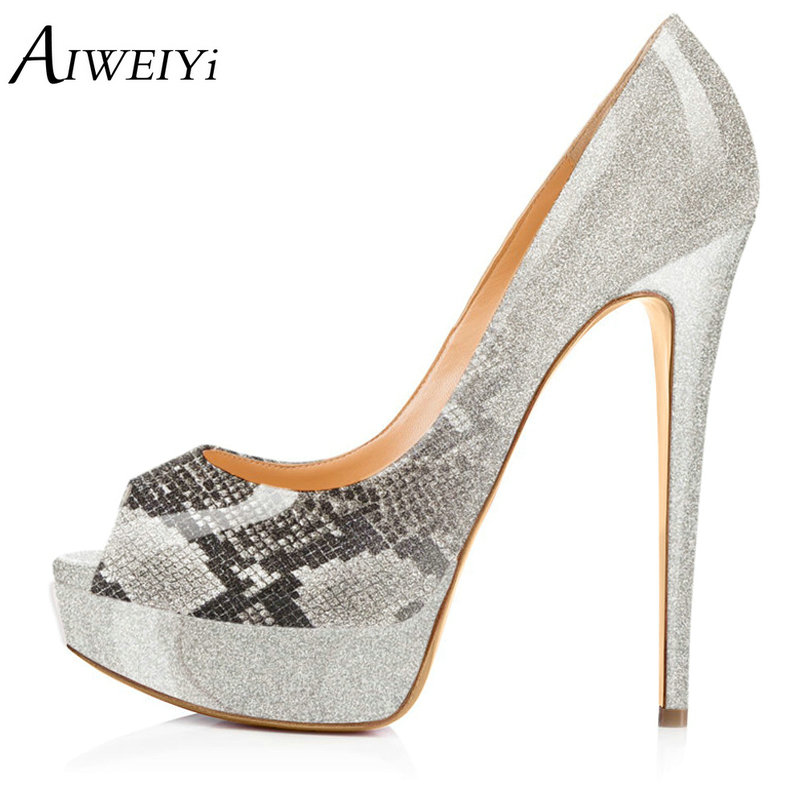 AIWEIYi Women Pumps Fashion Peep Toe Patent Leather Stiletto High Heels Shoes Spring Summer Wedding Shoes Woman High Heels aiweiyi 2018 summer women shoes pointed toe stiletto high heel pumps dress shoes high heels gold transparent pvc shoes woman
