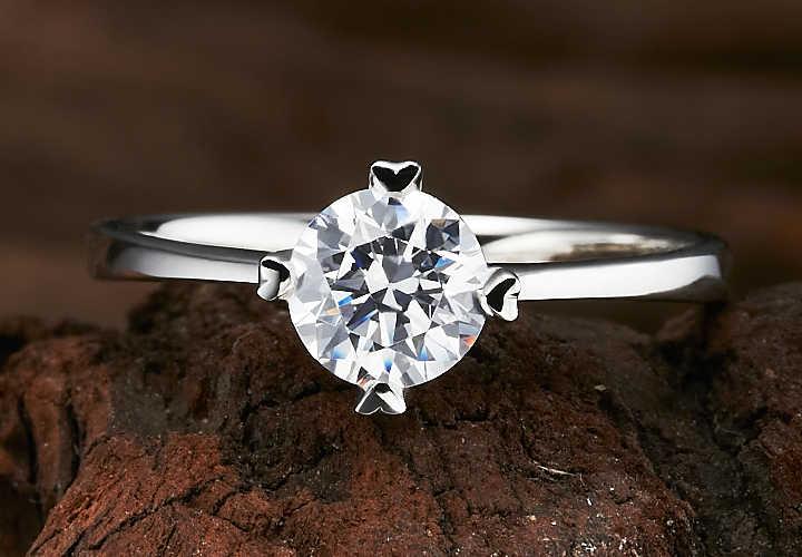Pequena Pedra de Montagem 4 Pinos 0.3Ct SONA Diamante Sintético do Anel de Noivado Genuine Sterling Silver Luxo Cor do Anel Para O Casamento