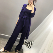 [Alphalmoda] Knitted Three Piece Suit 2017 Spring Women Long Cardigans + Vest + Wide Legs Pants Graceful Casual Suits 3colors