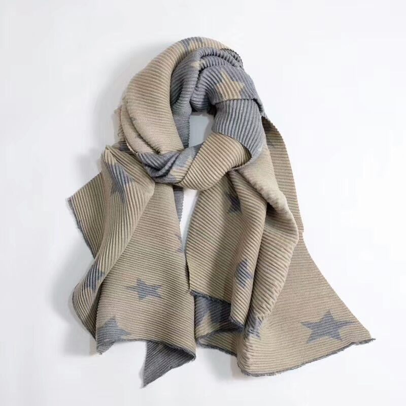 2018 New Brand Luxruy Cashmere Acrylic Women Star Printing Pleated Fashion Scarf Heavyweight Wraps Foulard Bandana LL171130
