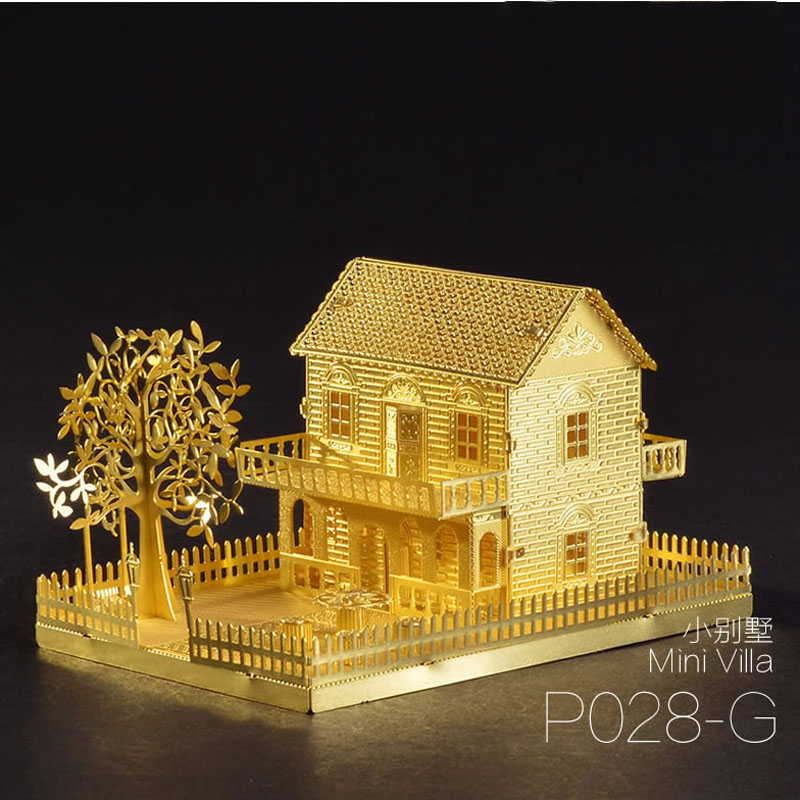Puzzle en métal MINI VILLA 1 feuille modèle d'assemblage en métal 3D Puzzle découpé au Laser jouets de Puzzle Collection bricolage jouets cadeau créatif