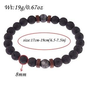 Image 5 - Amader Vintage Black Lava Stone Bracelets Men Meditation Natural Wood Beads Bracelet Women Prayer Jewelry Yoga Dropshipping