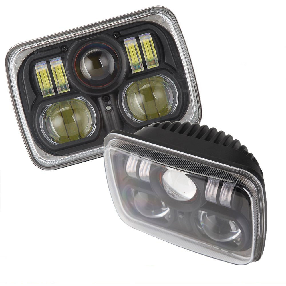 2PCS Square 7 inch led projector headlight 9-30V IP 67 FOR JEEP Wrangler JK LJ Truck Offroad 7 x 6 led Driving light windshield pillar mount grab handles for jeep wrangler jk and jku unlimited solid mount grab textured steel bar front fits jeep