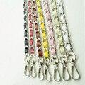 120cm (DIY 60cm-160cm) Silver Metal Shoulder Bag Straps with PU Leather Replacement Purse Chain Strap for Handbags, Bags Handles