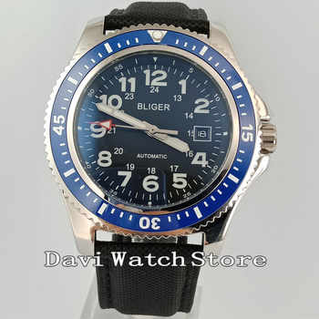 Bliger 44mm Wild Fashion Ceramic Bezel Arabic Numerals Automatic Date Wrist Watch 2598