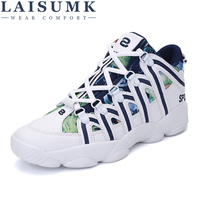 2018 LAISUMK Men Shoes Adult Breathable Comfortable Lace Up Male Casual Shoes Brand Fashion Sneakers
