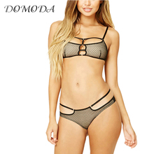DOMODA 2017 New Fashion Women Black Sexy Push Up Lace Wireless Bralettes Semi-sheer Underwear Soft Breathable Panties Bra Set