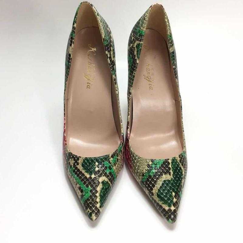 Keshangjia PU cuero Ponited punta Baja boca salvaje mujeres zapatos 2018 nuevos OL solo zapatos slip on sexy fino tacón bombas-in Zapatos de tacón de mujer from zapatos    1