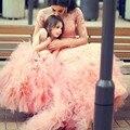 A LA VENTA! 2017 Hermosa Flor de Color Rosa Vestidos de Las Muchachas de Manga Larga Apliques Rebordear Desfile de Vestido de Primera Comunión Vestido de Encargo