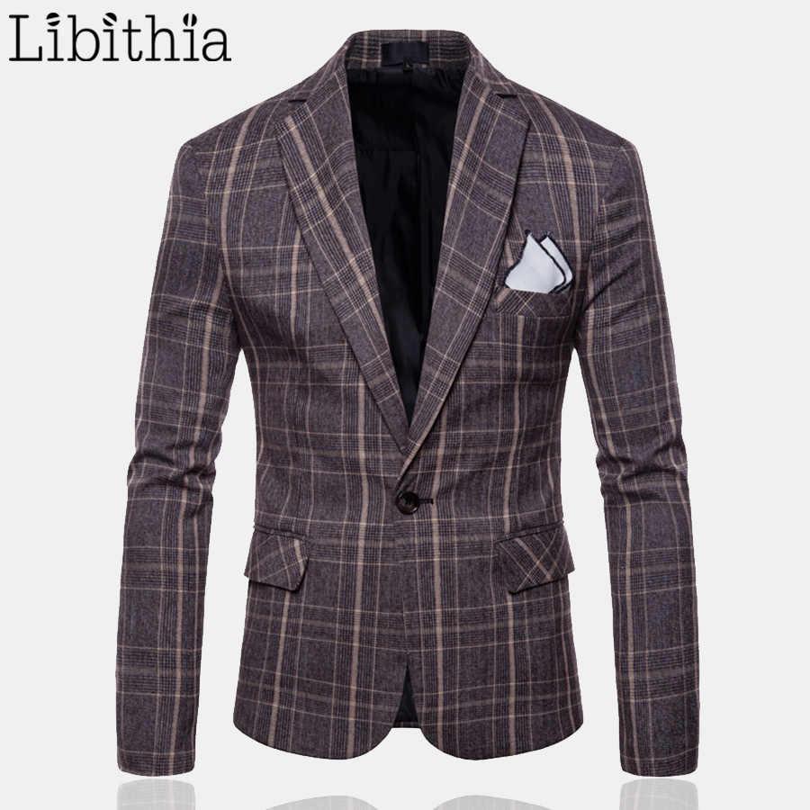 男性カジュアルなチェック柄ブレザーファッション高品質スリムフィットワンボタンビッグサイズ M-4XL ブレザー Masculino 服グレーコーヒー t054