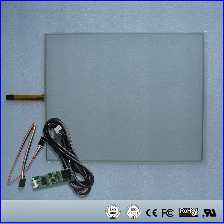 288mmx355mm Resistive Touch Screen Panel + 4 Wire USB Kit for 17inch Monitor 17 touch panel kit