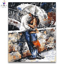 Kissing Lovers romantic picture painting by numbers with kits DIY Draw on canvas for hoom bedroom decor gift handwork framed