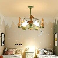 Творческий Детская комната светильники Спальня Лампа дерева, обеденный для комнаты, Подвесная лампа Мультфильм Кабинет лампы скандинавски