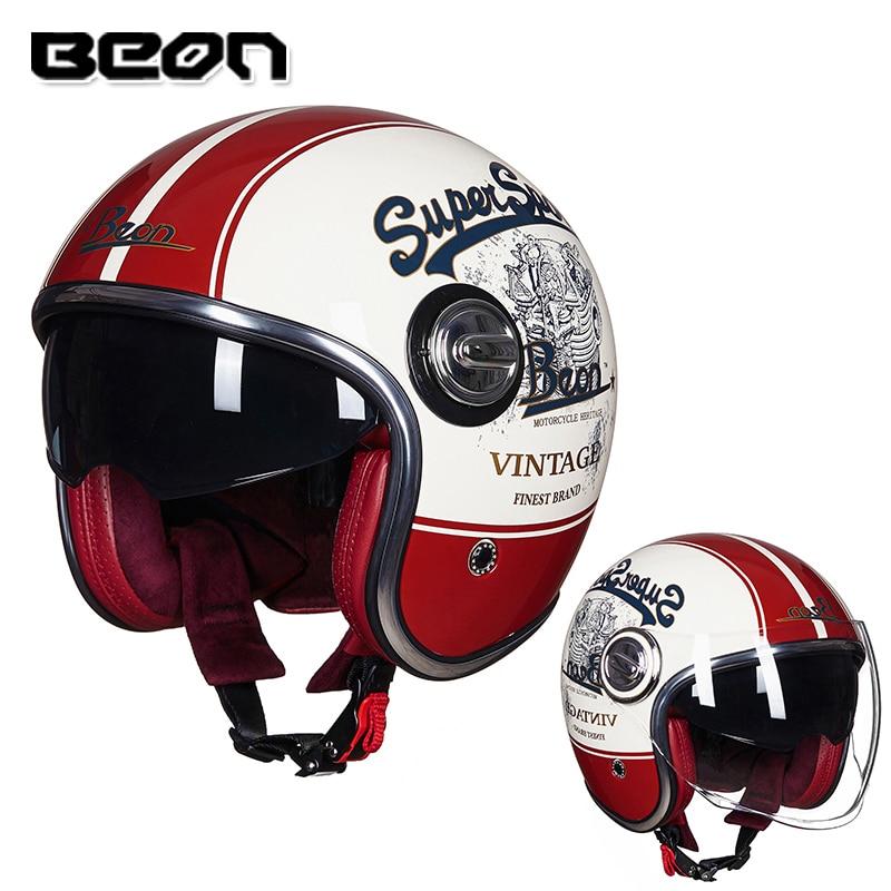 BEON B 108A Motorcycle helmet Vintage 3 4 open face helmet Retro Double lens Scooter helmet
