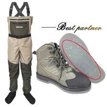 Fly balıkçılık ayakkabı ve pantolon keçe taban çivi ile Aqua ayakkabı giyim seti sığ su geçirmez takım elbise Waders çizme No kayma kaya spor