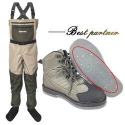Pesca a mosca Scarpe & Pantaloni Feltro Suola Con Le Unghie Aqua Scarpe Da Ginnastica Abbigliamento Set Trampolieri Impermeabile Vestito Trampolieri Boot No- slip Sportivi Roccia