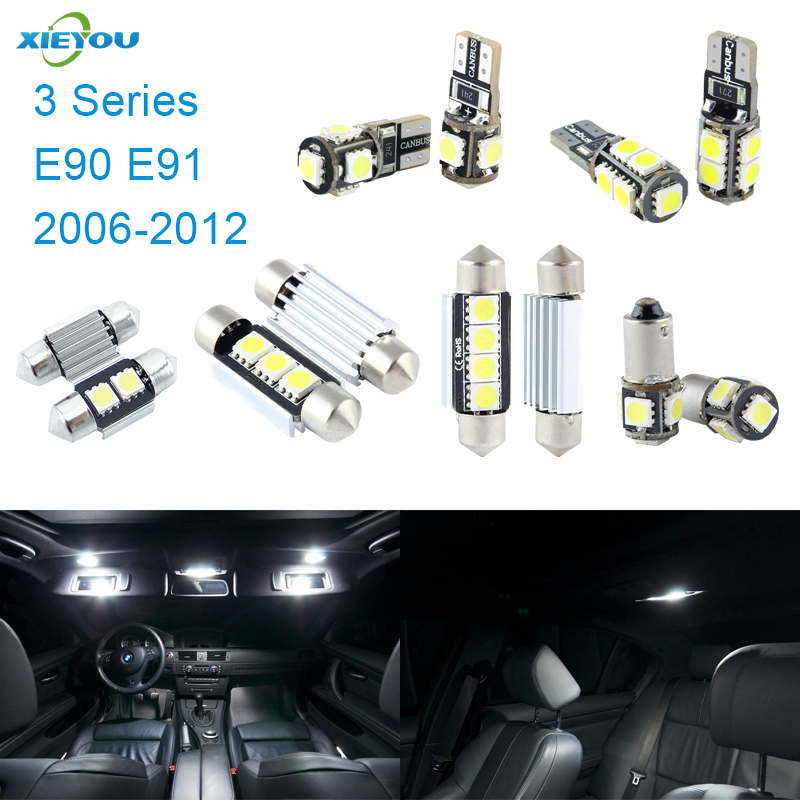 XIEYOU 14pcs LED Canbus Interior Lights Kit Package For BMW 3 Series E90 E91 (2006-2012) 17pcs led canbus interior lights kit package for bmw 5 series e60 e61 2004 2010