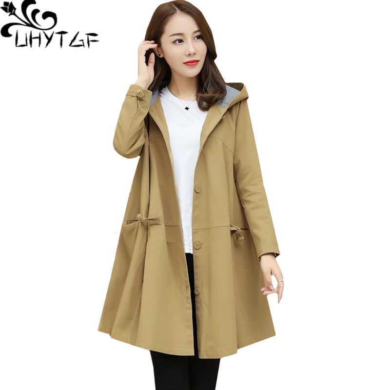 UHYTGF Fashion Korean Oversized outerwear women Hooded Long sleeve spring autumn   trench   coat thin elegant Ladies Basic coats1336