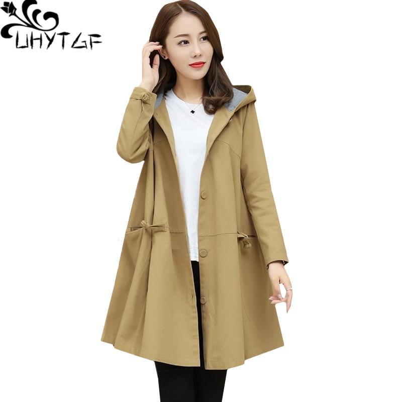 UHYTGF Fashion Korean Oversized outerwear women Hooded Long sleeve spring autumn   trench   coat thin elegant Ladies Basic coats1336