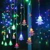 Window Curtain Christmas Tree Icicle Lights 219led 16 4ft 8modes Light Christmas Curtain String Fairy Wedding