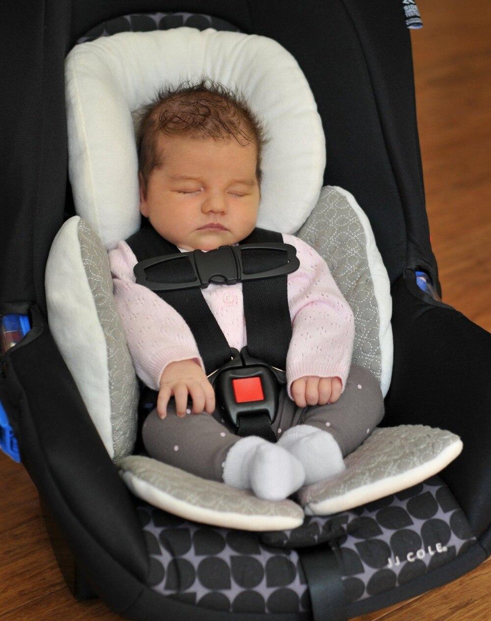 Soft MINKY// Fleece stroller head support pillow UNIVERSAL Infant \ Baby \ Toddler car seat light beige