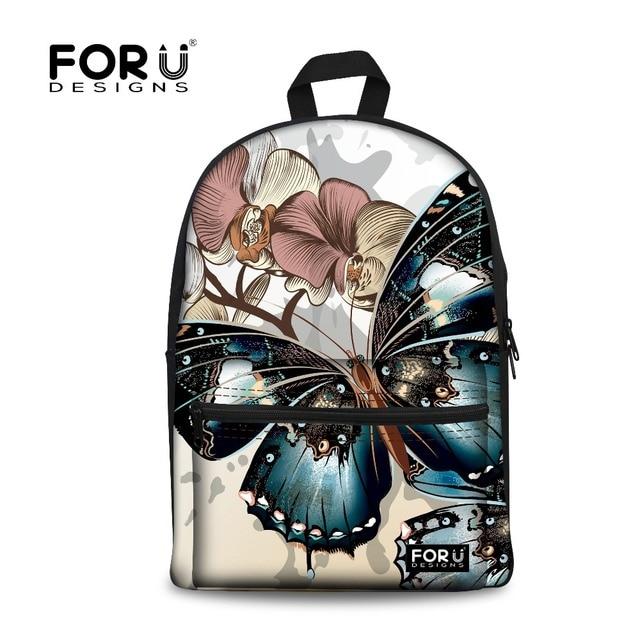 forudesigns children school bags for teenager girlscanvas backpack kids school bag fancy butterfly printing