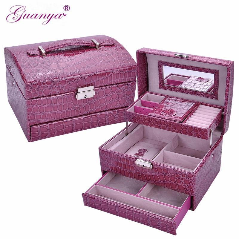 Guanya Brand Jewelry Storage Box Three Layer With Mirror&Lock PU Leather Display Lockable Travel Jewelry Organizer Gift case