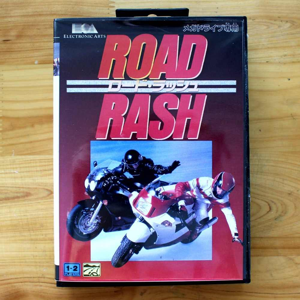 Road Rash 16 Bit MD Game Card with Retail Box for Sega MegaDrive & Genesis Video Game console system
