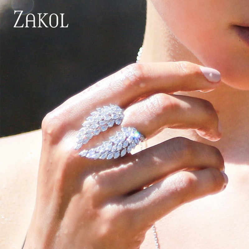 ZAKOL Romantic Style White Color Zirconia Wings Open Rings Fashion Leaf Adjustable Finger Ring for Women Girl Jewelry FSRP2022