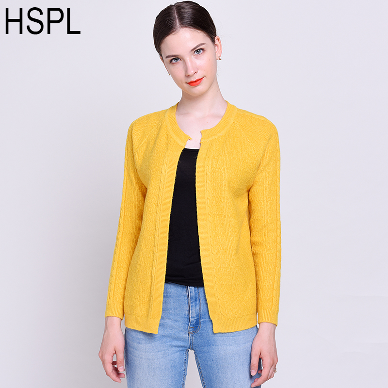 HSPL Short Cardigan Women Hand knitted Cheap Autumn White Female Cardigans Long Sleeve Ladies knit Fashion Warm Yellow Jumpers