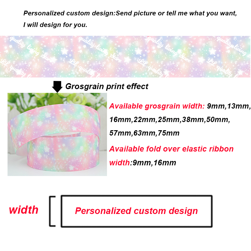 25mm width heat transfer foil printing solid color grosgrain ribbon custom design pattern wedding accessories 300