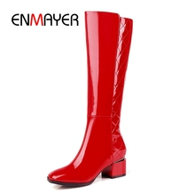 цены на ENMAYER  Women boots solid square toe high heel knee high boots high quality cow leather boots for women Big size 34-43 ZYL945  в интернет-магазинах