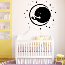 Drop Shipping Moon Wallspaper Decal Removable Vinyl Mural Poster For Babys  Room Decoration Waterproof Wall Art