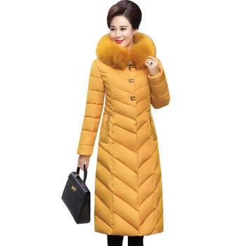 Plus Size 5XL Long Female Jacket Warm Winter Coat Abrigo Mujer Hoodies Fur Collar Cotton Winter Jacket Thicken Women Parka C5145